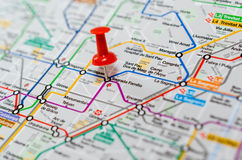 Sagrada Familia on a map. Photo of a Thumbtack in a subway Map, Barcelona Royalty Free Stock Images