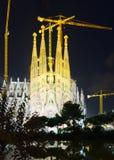 Sagrada Familia na noite Imagem de Stock Royalty Free