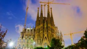 Sagrada Familia nella sera Barcellona Fotografia Stock Libera da Diritti