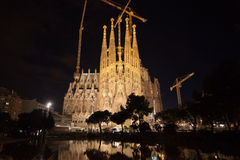 Sagrada Familia at night Royalty Free Stock Photos