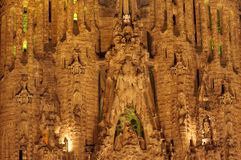 Sagrada Familia at night, Barcelona. Sagrada Familia cathedral  details, night scene Stock Photography