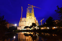 Sagrada Familia in night Stock Images