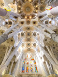Sagrada Familia plafond in Barcelona 0470 Stock Foto