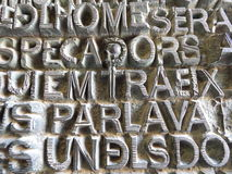 Sagrada Familia prayer pannel detail in Barcelona, Spain Royalty Free Stock Photo