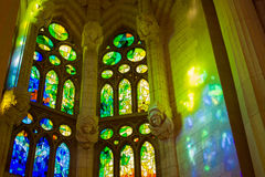 Sagrada Familia rainbow interior Stock Images