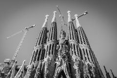 Sagrada Familia, Spain, Barcelona, September 2017, Cathedral designed by Antoni Gaudi in black and white bw royalty free stock photo