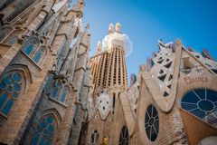 Sagrada Familia, Spain, Barcelona, September 2017, Cathedral designed by Antoni Gaudi royalty free stock photos