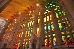 Sagrada Familia. Stained glass windows at Gaudi's Sagrada Familia, Barcelona Royalty Free Stock Image