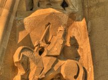 Sagrada familia statue barcelona spain. This is a statue of the front portal barcelona spain royalty free stock images