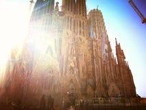 Sagrada Familia in sun in spring stock photos