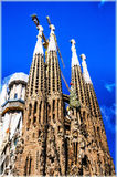 Sagrada Familia Temple in Barcelona, Spain. The most famous church in Barcelona, La Sagrada Familia by Antonio Gaudi royalty free stock images