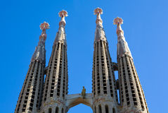 Sagrada Familia Temple Towers. Sagrada Familia Temple, a famous architectural landmark designed by the famous architect, Antonio Gaudi stock image
