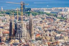 Sagrada Familia from Turo del Rovira in Barcelona, Spain Royalty Free Stock Images