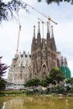 Sagrada familia vid Gaudi i Spanien Arkivbild