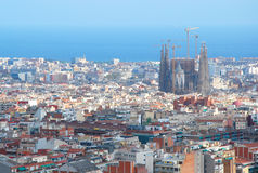 Sagrada Familia view. Aerial view of Sagrada Familia in the city of Barcelona, Spain, from Park Guell Royalty Free Stock Images