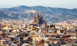 Sagrada Familia view. Aerial view Sagrada Familia from the Montjuic hill, Barcelona, Catalonia, Spain royalty free stock image