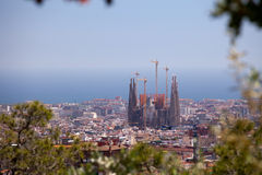 Sagrada Familia Viewed From Parc Guell Stock Photography