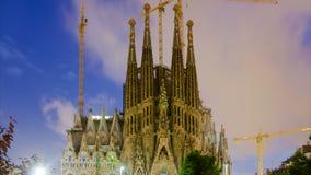 Sagrada Familia w wieczór Barcelona Zdjęcia Royalty Free