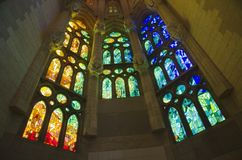 Sagrada Familia windows, Barcelona, Spain Royalty Free Stock Photo