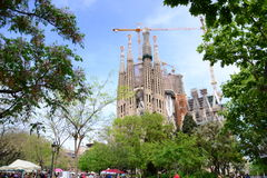 Sagrada familia works, Barcelona, Spain Royalty Free Stock Photography