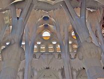 Sagrada Familiar pillars Royalty Free Stock Images