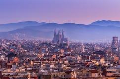 Sagrada Famillia στο σούρουπο Βαρκελώνη, Ισπανία Στοκ Φωτογραφίες