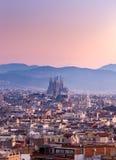 Sagrada Famillia στο σούρουπο Βαρκελώνη, Ισπανία Στοκ Εικόνες