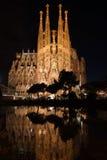 Sagrada reflekterade Familia Fotografering för Bildbyråer