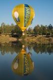 Sagrantino International Challenge Cup. Hot air balloon on blue lake. GUALDO CATTANEO, ITALY - JULY 29, 2016: Sagrantino International Challenge Cup. Hot air Stock Photo