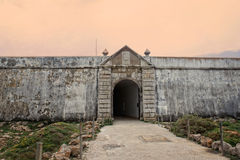 Sagres fortress entrance in rugged terrain Royalty Free Stock Photography