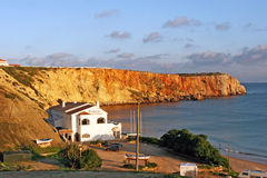 Sagres, Portugal - Restaurants in Rocky bay Royalty Free Stock Photography