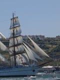Sagres tall ship in Tagus river Royalty Free Stock Photos