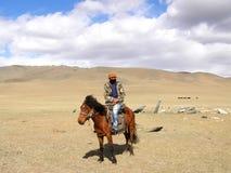 SAGSAY, MONGOLEI - 22. MAI 2012: Mongolischer Reiterschäfer, der von den Schafen in der Wüste sein ist lizenzfreie stockfotos