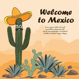 Saguaro cactus in sombrero. Welcome to Mexico card. Cactus, opuntia, and agave in the desert. Vector illustration Royalty Free Stock Photo