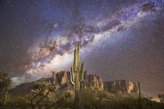 Saguaro Cactus & The Milky Way @ Superstition Mountains Stock Images