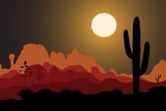 Saguaro cactus tree in night desert. Saguaro cactus tree silhouette in night desert. Mountains background. Vector illustration Stock Photo