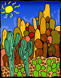 Saguaro Desert Landscape. A combination of hand-drawn and computer colored and enhanced image showing saguaro cactus and prickly pear cactus with a rock outcrop Stock Photography
