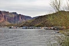 Saguaro Jeziorny rezerwuar, Maricopa okręg administracyjny, Arizona, Stany Zjednoczone obraz stock