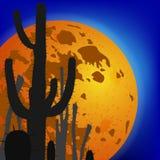 Saguaro-Kaktus gegen Mond Stadt mit Leuchten Auch im corel abgehobenen Betrag Stockbild