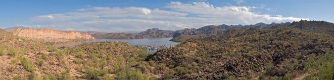 Saguaro Lake. Panorama of Saguaro Lake Marina in Sonoran Desert royalty free stock images