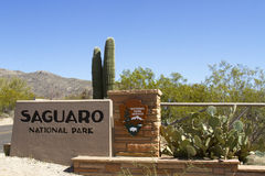 Saguaro National Park Entrance. Entrance sign to Saguaro National Park in Tucson Arizona with iconic saguaro cactus Royalty Free Stock Images