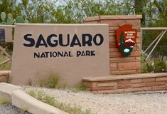 Saguaro National Park Entrance Stock Photo