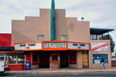 Saguaro theater in Arizona. Wickenburg, Arizona - February 5, 2009:  The classic Saguaro Theater on Wickenburg Way.  It is named after the saquaro cactus which Royalty Free Stock Images