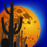 Saguarocactus tegen maan De scène van de nacht Vector illustratie Stock Afbeelding