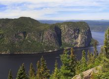 Saguenay Fjord aerial view, Quebec, Canada royalty free stock images