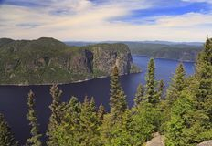 Saguenay Fjord aerial view, Quebec, Canada royalty free stock photography
