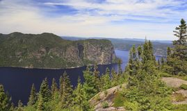 Saguenay Fjord aerial view, Quebec, Canada royalty free stock image