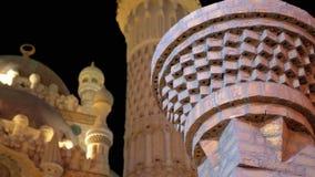 Sahaba mosk? i den gamla marknaden p? natten Egypten Sharm el Sheikh stock video