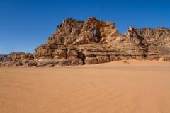 Sahara's krajobraz Tassili N'Ajjer, Południowy Algieria zdjęcia royalty free