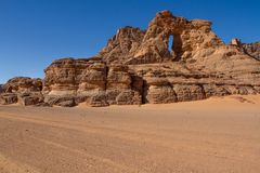Sahara's krajobraz Tassili N'Ajjer, Południowy Algieria zdjęcia stock